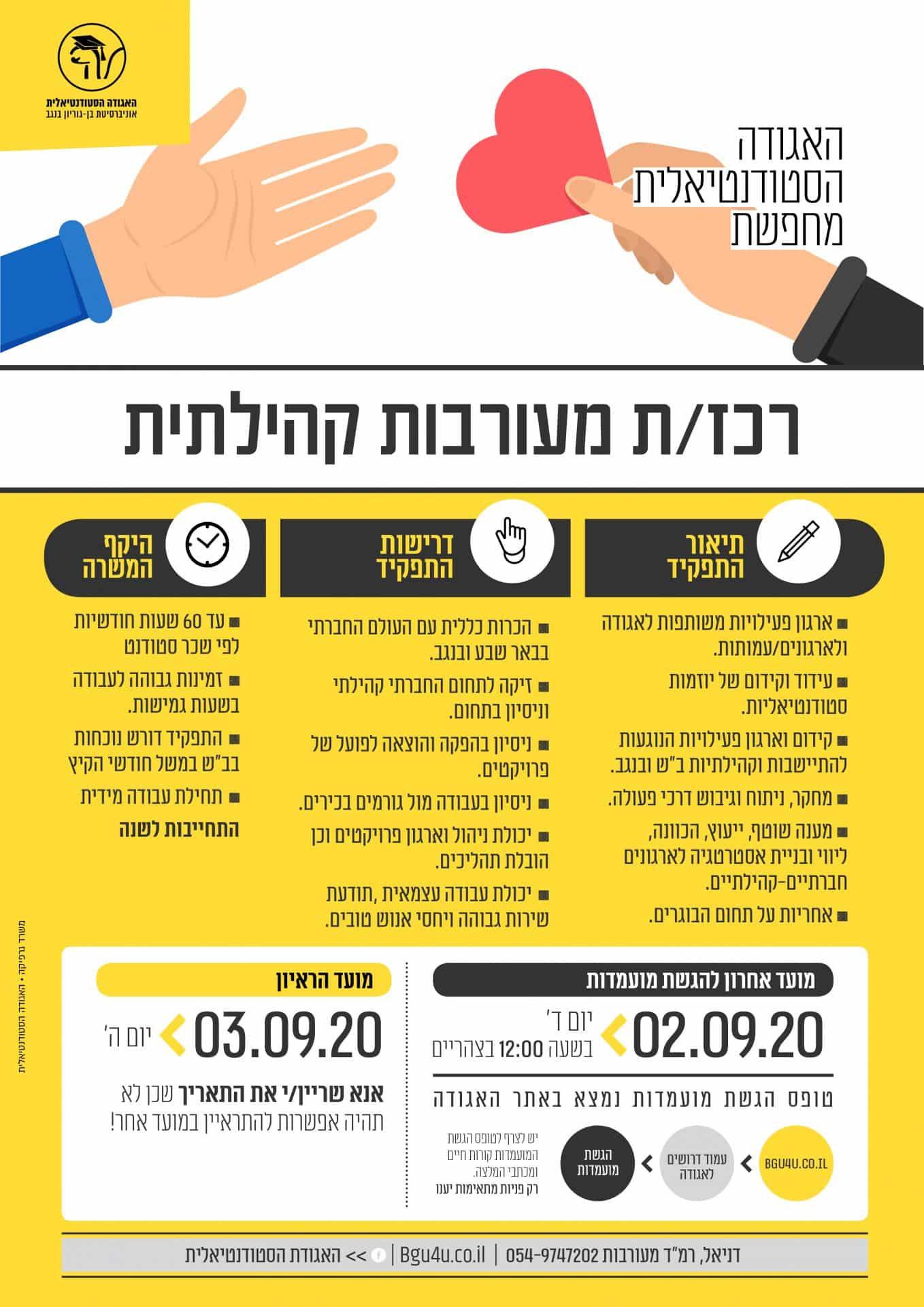 רכזת מעורבות קהילתית_ דרושים - האגודה הסטודנטיאלית - אוניברסיטת בן-גוריון  בנגב